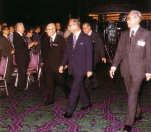 Hon. Tun Hussein Onn, Prime Minister of Malaysia being escorted by Mr Shigeo Nagano, President of JAMECA and YM Raja Tun Mohar, President of MAJECA for the Inaugural Joint Conference on 14 November 1977