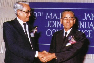 The smiles and the warm handshake of Raja Tun Mohar, President of MAJECA and Mr Masami Ishii, President of JAMECA, at the 9th Joint Conference, symbolized the spirit of friendship and the close and harmonious economic relations between Malaysia and Japan.