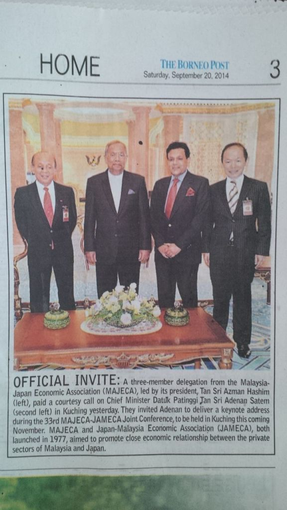 Press Article in Borneo Post on Meeting with Chief Minister Sarawak